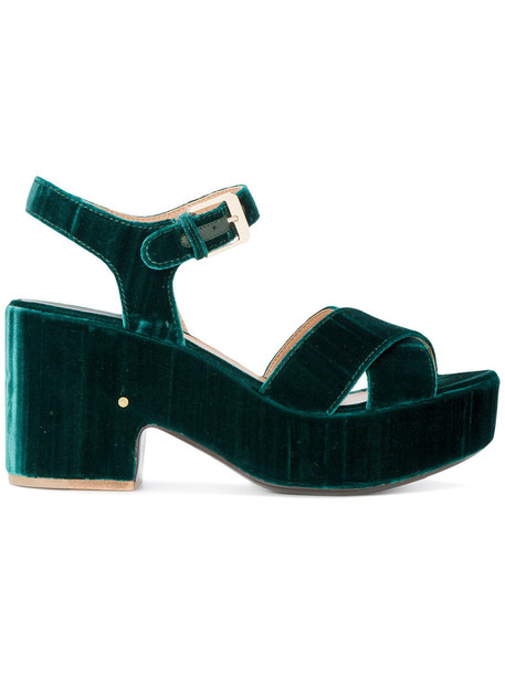 LAURENCE DACADE women sandals platform sandals leather velvet green shoes