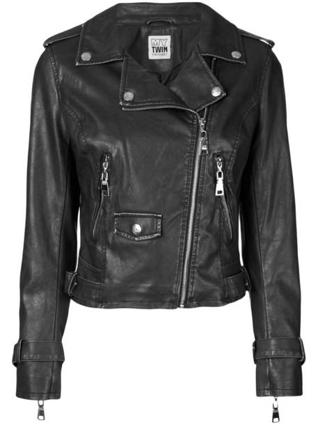 Twin-Set jacket biker jacket zip women black