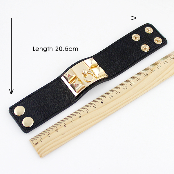 Gold Rivet Black Leather Bracelet - Sheinside.com