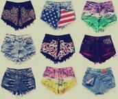 shorts,High waisted shorts,colorful shorts,american flag,union jack,studs,ripped shorts,u.s.a,red,blue,white,bag,shoes,high waisted,nieten,flag,coulers,purple,shorts high waisted ying yang tie dye,tommy hilfiger red white bluee,fashion,light blue jeans,style,spikes,leopard print
