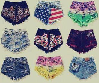 shorts high waisted shorts high waist shorts colorful shorts u.s.a red blue white bag shoes nieten flag coulers