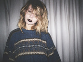 vingtage,navy,grunge,pattern,dark,oversized sweater