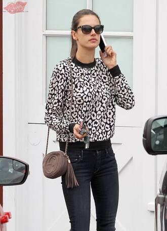 sweater black and white alessandra ambrosio geometric pattern cute sweater