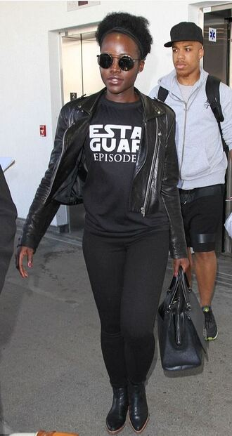 top all black everything t-shirt star wars jacket lupita nyong'o