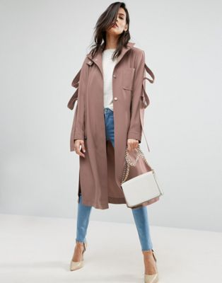 ASOS Duster Coat With Loop Sleeve Detail at asos.com