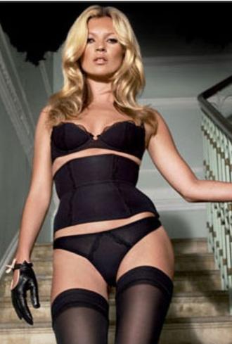 kate moss black lingerie model sexy