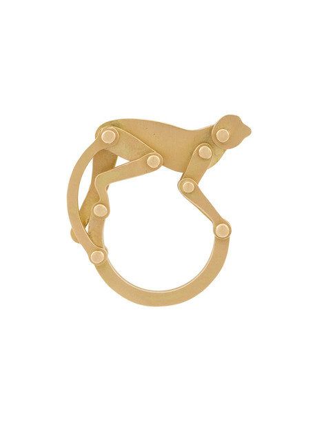 Marc Alary women monkey ring gold grey metallic jewels