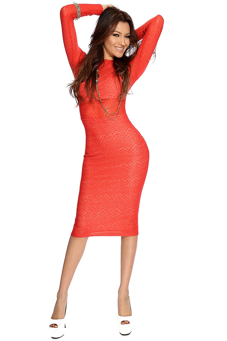 Red orange hevron knitted sexy bodycon dress