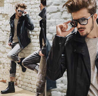 jacket leather jacket black boots black sunglasses menswear gray shirt shirt shoes sunglasses