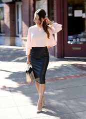 jessica r.,hapa time - a california fashion blog by jessica,blogger,bag,shirt,light pink,quarter sleeve