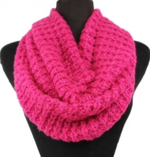 Soft warm and cozy solid fuschia/pink crochet infinity scarf