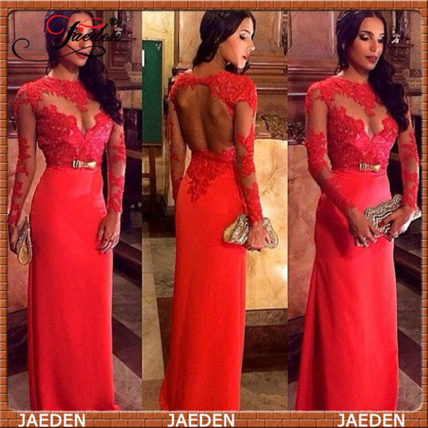 long sleeve evening dress, red evening dresses, lace evening gowns ...