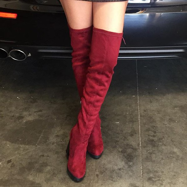 Burgundy Faux Suede Chunky Thigh High Boots @ Cicihot Boots ...