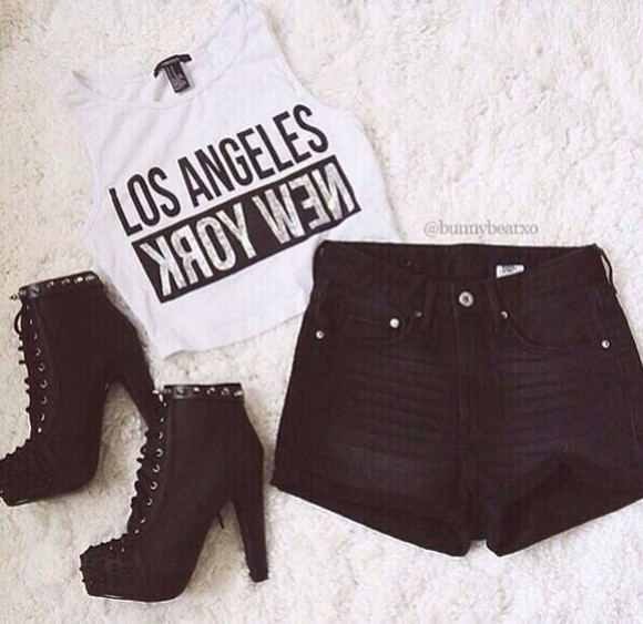 new york city top shorts crop tops high heels platform lace up boots