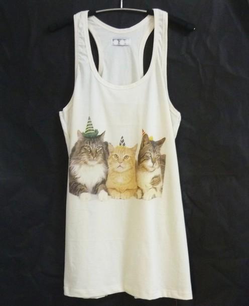tank top cat tank top animal shirt racerback tank top