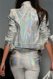 jacket,style,fashion,holographic,runway,model,denim,iridescent,rainbow,silver,colorful,haute couture