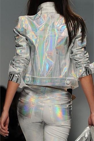 jacket style fashion holographic runway model denim iridescent rainbow silver colorful