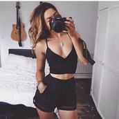 mesh,set,romper,shorts,black clothing,black tank top,black shorts,sheer,sheer top,tank top,black outfit,jewelry,jewels,black romper,vneck top,vneckblackdress,vneck jumper,necklace,ring,camera,bustier crop top,black crop top,High waisted shorts,t-shirt,black,black top,crop tops,white,perfect,nails,top,where can i buy this whole outfit from???,shirt,outfit,tumblr outfit,summer top,jumpsuit,black jumpsuit,lace,boho,pink,red
