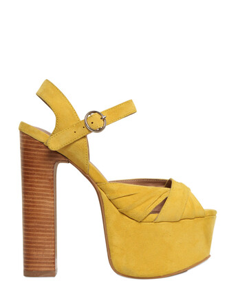 sandals suede yellow shoes