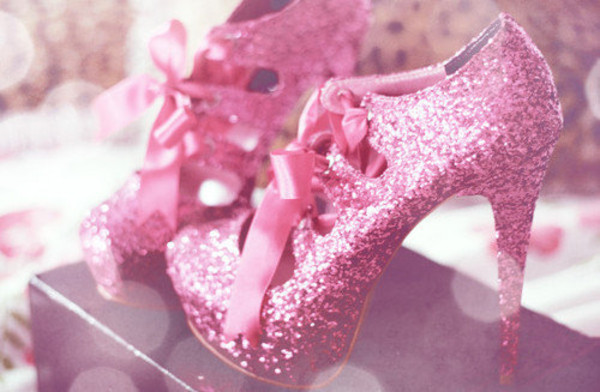 shoes pink pink high heels glitter shoes glitter high heels bows