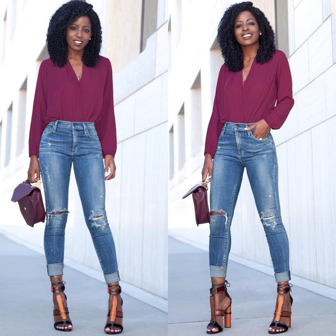 Pantry | Long Sleeve Faux Wrap Blouse High Waist Jeans