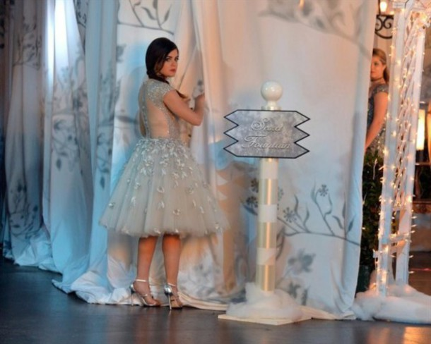 PLL Ice Ball pretty little liars silver tulle dress sandals embellished backless dress