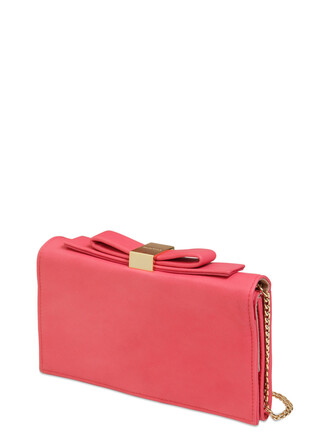 leather clutch bow clutch leather pink bag