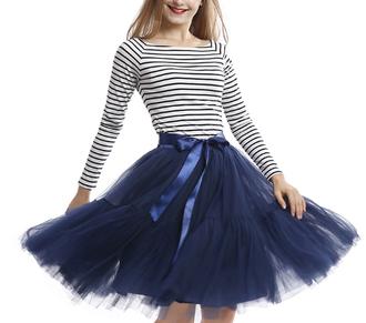 skirt blue navy fashion style girly fall outfits cute trendy kawaii tutu tulle skirt feminine musheng