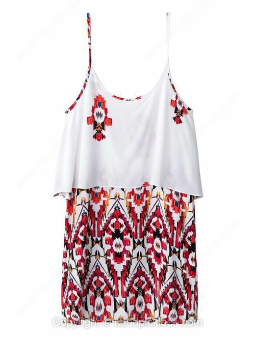 Red Spaghetti Strap Sleeveless Geometric Print Chiffon Dress - HandpickLook.com