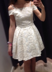 dress,sale,pattern,cream,small,mini,short,pretty,topshop,offshoulder,white dress,vintage,floral embroidery