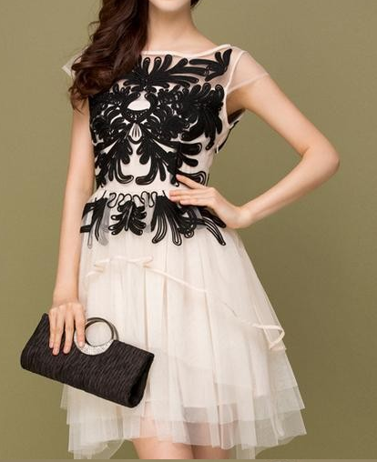 Embroidery Lace Flower Sleeveless Organza Mesh Party Dress