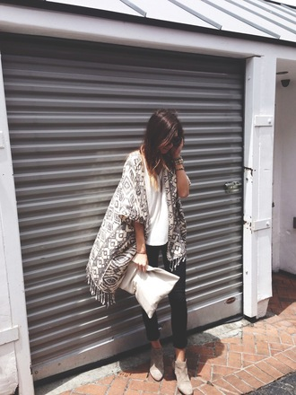 sweater fringe tunic jeans scarf cardigan kimono cardigan kimono ikat tassel