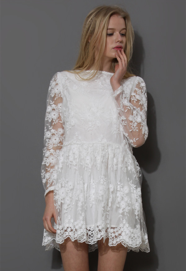 dress white full flowers mesh