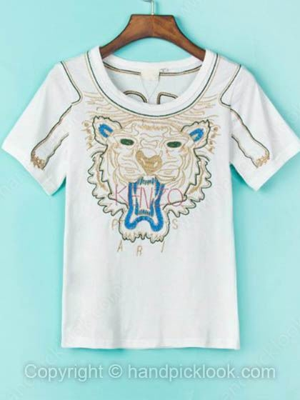 White Round Neck Short Sleeve Tiger Embroidery T-Shirt - HandpickLook.com