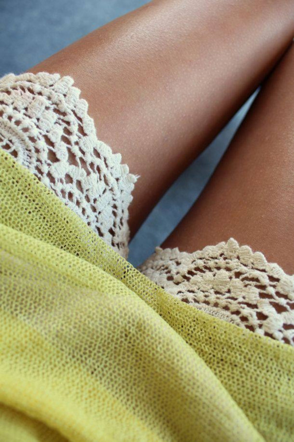 shorts summer tanned white green sweater