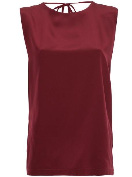 Kacey Devlin top women silk red