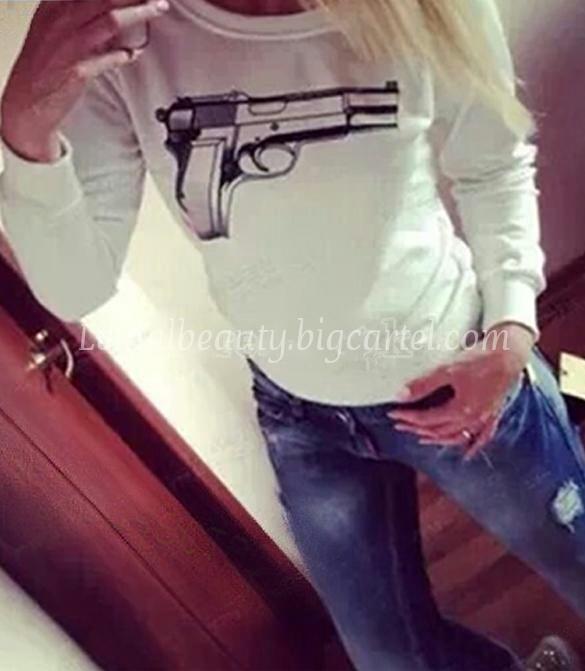 Lethalbeauty ? gun print sweater