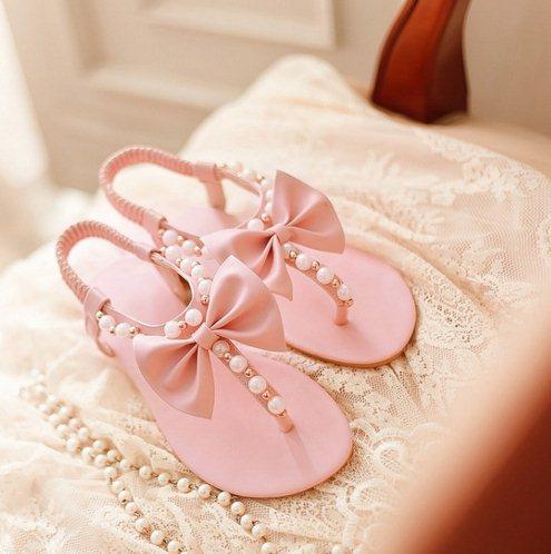 Big Size34 43 Open toe Summer Fresh pearl Sandals Rhinestone flat ...