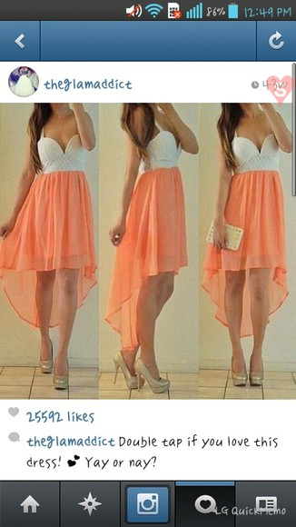 dress peach dress short front long back