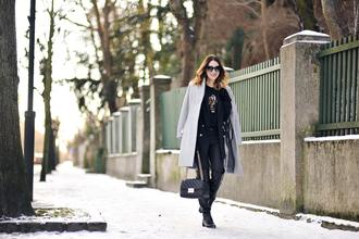 shiny sil blogger blouse pants bag coat shoes sunglasses gloves