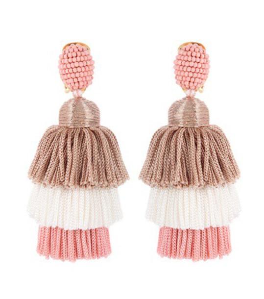 oscar de la renta tassel earrings pink jewels
