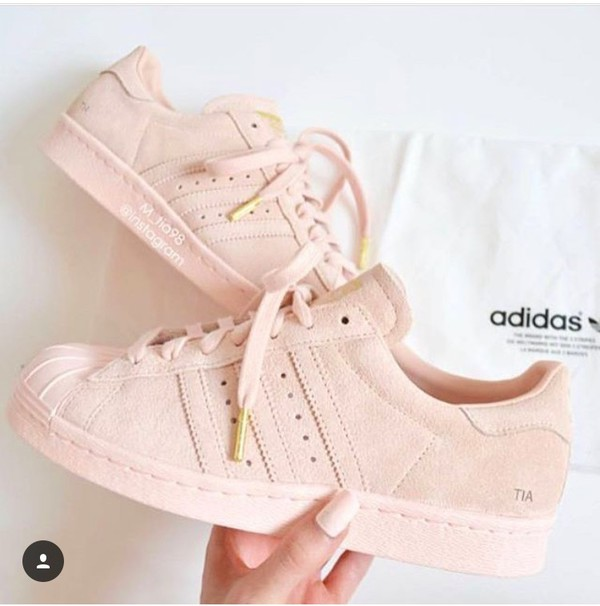 Shoes: pastel pink, adidas superstars, low top sneakers ...