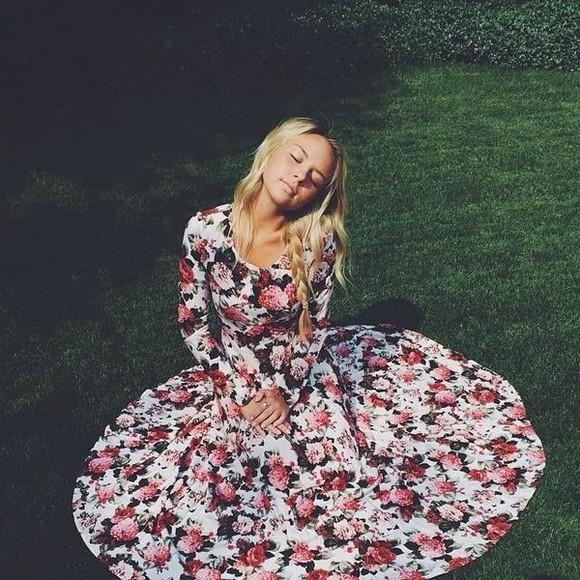 roses floral maxi dress long sleeve dress