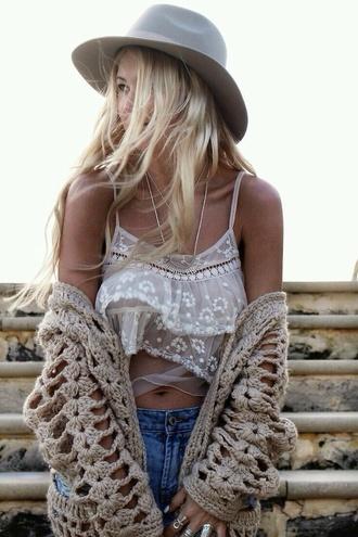 tank top lace lace tanktop white lace white lace tanktop tumblr boho sweater hat