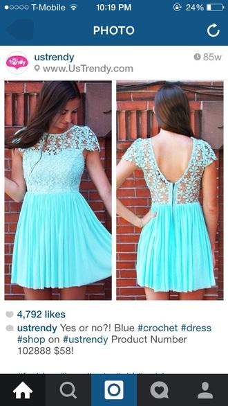 dress blue dress lace dress style preppy dress