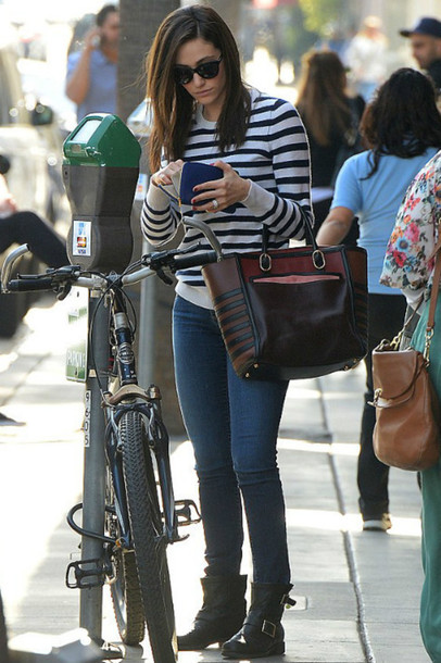 sweater stripes top emmy rossum