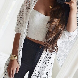 cardigan watch necklace tan tumblr white blue jeans gold nails crop tops high waisted jeans brunette on point clothing