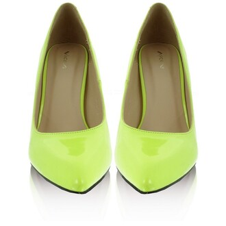 shoes neon yellow low heels high heels pumps