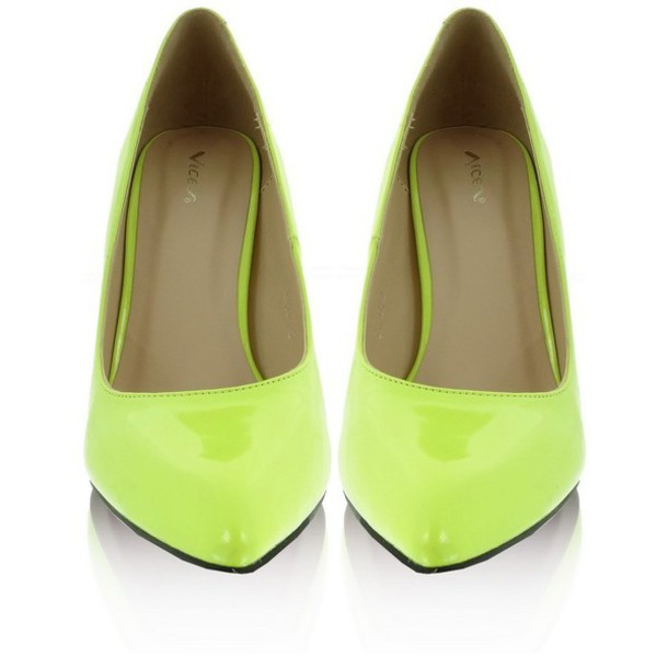 Shoes: neon, yellow, low heels, high heels, pumps - Wheretoget