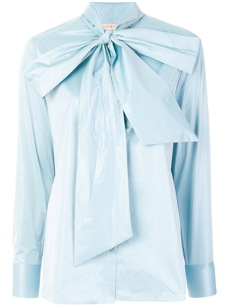 Tory Burch - Daphne tie neck blouse - women - Polyester - 6, Blue, Polyester